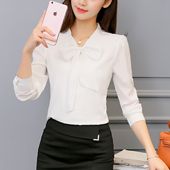 Summer Blouse Women Long Sleeve Shirts Fashion Leisure Chiffon Shirt Bow Office LadiesTops white s