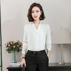 Spring Fashion Casual white long sleeve T-Shirt Slim Formal Wear tshirt feminine shirts ladies tops white s