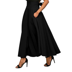 Summer Fashion Skirt With Pocket High Quality Solid Ankle-Length Vintage Skirt For Women Long Skirt black s
