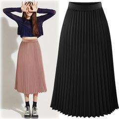 Skirts Womens Solid Pleated High Waist Skirts Autumn Casual Midi Elastic Skirt Faldas Mujer Moda black s