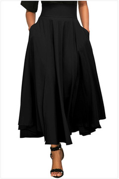 Skirts Womens Women High Waist Casual Pleated A Line Long Skirt Front Slit Bow Belted Maxi Skirt black s