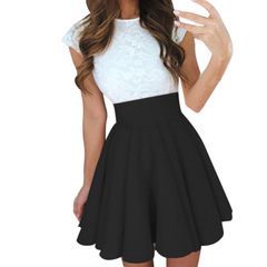 Midi Skirts Womens Summer Solid High Waist simple Skater Skirt Ladies Party Cocktail Mini Skirts black s