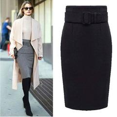 Autumn Style Cotton Plus Size High Waist Saias Femininas Casual Midi Pencil Skirt Women Skirts black s