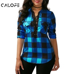 Women Plaid Shirt 2019 Spring Long Sleeve Blouses Shirt Office Lady Cotton Lace Up Tunic Casual Top blue s