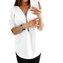 2019 New Summer Fashion Women Shirts Classic Short Sleeve Sexy V Neck Zipper Casual Tee Shirts Tops white s
