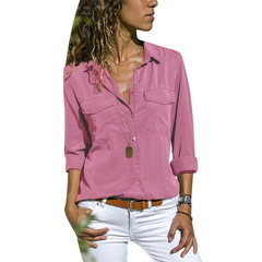 Turn Down Collar Shirts Solid Colors Women's Long Sleeve Tops Pockets Design Blusas V Neck Shirt pink s