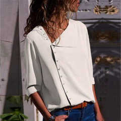 Chiffon Blouse Long Sleeve Women Blouses Tops Skew Collar Solid Office Shirt Casual Tops Blusas white s