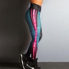 Mesh Leggings fitness Leggings For Women Geometric Honeycomb Workout Leggins Elastic Slim Pants rose red s