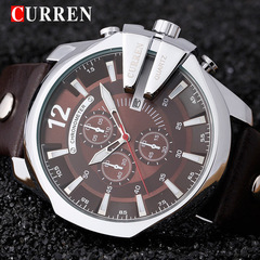 Mens Watches Brand Luxury Leather Casual Quartz Watch Men Military Sport Clock Gold Watch 01 one size