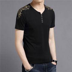 T-Shirt Men Brand Clothing  Summer New Short Sleeve Henry Collar T Shirt Men Fashion Floral black m cotton