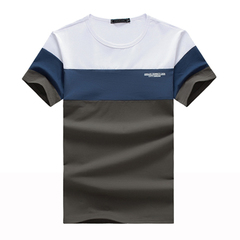 New Summer Men's T Shirt 2019 Fashion Striped T Shirt Mens Clothing  Fit Short Sleeve Shirt 5XL gray l spandex,cotton