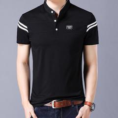 Men's T Shirt 2019 Short Sleeve Mandarin Collar T-Shirt Tops & Tees Male Tshirts Men Clothing black m spandex,cotton
