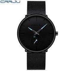 Crrju Mens Watches Top Brand Luxury Quartz Watch Men Casual Slim Mesh Steel Waterproof Sport Watch blue one size