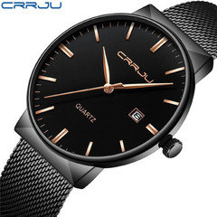 CRRJU Dial Business Watches For Men Stainless Steel Mesh Band Fashion Quartz Watch Slim Clock 01 one size