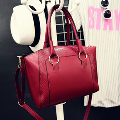 Women Totes Mini Solid Rivet Lock Alligator Handbag Ladies Shoulder Crossbody Messenger Bag red 28cm*11cm*25cm