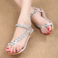 Transparent Jelly Sandals Flowers Flat with Flip Crystal Crystal Soft Bottom Beach Women's Shoes silve 35