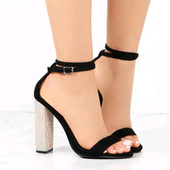 Summer Luxurious Diamonds Pumps Sexy 11.5cm Thin High-heeled Shoes Woman Cross-strap Lady Sandals black 34