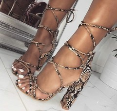 2019 Prints Snakeskin grain Ankle Strap Sandals Women Square heel Party Lace-Up Summer Sandal Shoes apricot 35