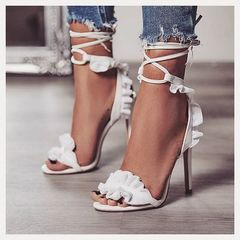 Flower Cross Bandage High Heels Sandals Women Pumps Thin Heel Ruffle Lace-Up Summer Shoes white 35