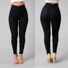Women Denim Skinny Jeggings Pants High Waist Stretch Jeans Slim Pencil Trousers Wash Skinny Jeans black s