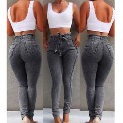 High Waist Jeans For Women Slim Stretch Denim Jean Bodycon Tassel Belt Bandage Skinny Push Up Jeans grey s