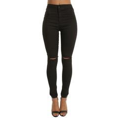 High Waist Casual Skinny Jeans For Women Hole Vintage Girls Slim Ripped Denim Pencil Pants black s