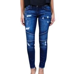 Women's Zipper Jeans Hole Ripped Stretch Skinny Denim Pencil Pants Female Slim Fit Trousers Jeans dark blue s