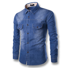 Solid Regular Selling Yutongyuxuan Light Denim Shirt Men  Cotton Thick Male Long Sleeve Cool blue l