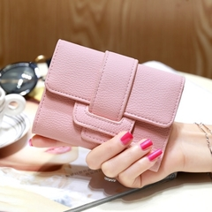 Luxury Soft Leather Women Hasp Wallet Fashion Tri-Folds Clutch For Girls Card Holders pink one size