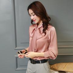 Shirt female Korean version OL long-sleeved chiffon shirt professional solid bow women shirt top pink m