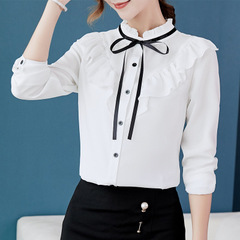 Long-sleeved Shirt Woman Professional Dress Work Clothes Ol Temperament Professional Shirt Woman white s