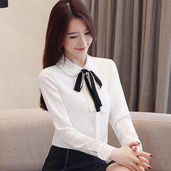 New Spring Women Shirts Bowlt Full Sleeve Slim Chiffon Professional Base Blouse Shirt white s