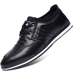 2019 Men casual shoes sneakers Comfortable flat fashion leather male shoes adult Formal Shoes black 38 leather