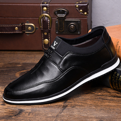 2019 Men casual shoes luxury comfortable leather fashion flat male shoes adult Formal shoes black 38 leather