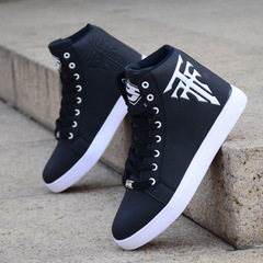 Spring Men's Shoes Korean Version Of The Trend Of High-top Shoes Men's White Casual Wild Shoes black CN 39