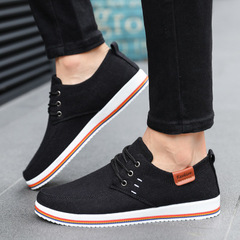 Valstone Men's Linen casual shoes sneakers male vulcanized flats lace-ups Rubber bottom homme black cn 39