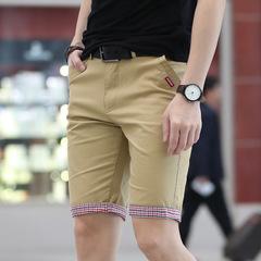 Shorts Men Plaid Hem Cotton Short Pants Shorts Bermuda Homme Short Pantalon Court Plus Size Men khaki 28