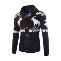 Fashion Men's Cartoon Print Winter Warm Cardigan Sweater Turn-down Collar Long Sleeve Clothes men balck s