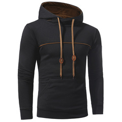 2019 New  Hoodies Men Fashion Brand Pullover Solid Hooded Harness  3XL balck m