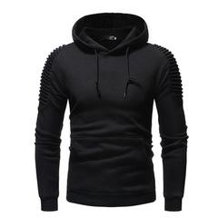 Hoodies Men 2019 Hot Male Long Sleeve Solid Color Fold Hooded  Sweat Coat Casual Sportswear 3XL balck m