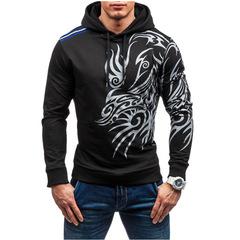 Men'S 2019 FashionLong Sleeve Hoodie Sweatshirt Men'S Slim Printing Men'S Hoodie Sportswear 3XL balck m