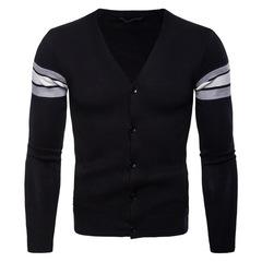 Men's Knitted Cardigan Masculino Sweater Long Sleeve V Neck Black Sweater Business Men Slim balck m