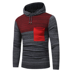 Hoodie Sweater Men New Arrival Men's Fashion Matching Color Casual Long-sleeved Sweater Men Slim red m