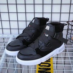 Men Casual Shoes Men Sneakers Shoes Male Hip hop hasp black high top Sneakers Breathable flats shoes black cn 39