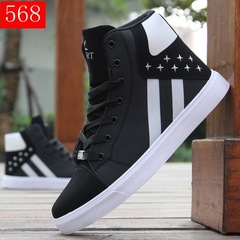 Casual Shoes Mens High Top Shoes Lace Up Comfortable Sneakers Footwear Men's Flats zapatillas hombre black cn 39
