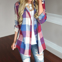 Womens tops and blouses Female Casual Matching Color Long Sleeve Button Loose Plaid Shirt Top blusas red s
