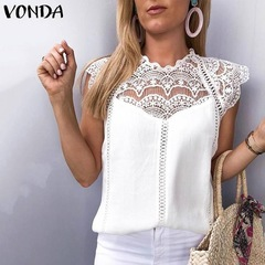 Women Blouse Tunic Sexy Sleeveless Lace Shirt OL Office Ladies Shirt Hollow Out Party Tops Camisas white s