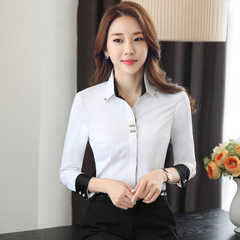 Fashion clothes OL women long sleeve shirt slim Patchwork cotton blouse office ladies formal tops white s
