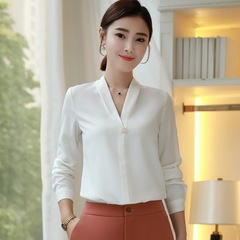 Fashion Sexy V Neck womens tops and blouses formal long sleeve chiffon shirt office ladies blusas white s