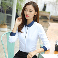 New women cotton shirt spring formal elegant patchwork blouse office ladies work wear plus size tops white s